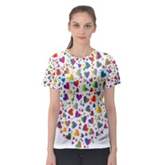Chaotic Colorful Heart Fractal Women s Sport Mesh Tee