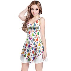 Chaotic Colorful Heart Fractal Reversible Sleeveless Dress