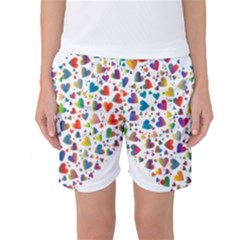 Chaotic Colorful Heart Fractal Women s Basketball Shorts