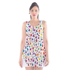 Chaotic Colorful Heart Fractal Scoop Neck Skater Dress