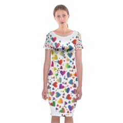 Chaotic Colorful Heart Fractal Classic Short Sleeve Midi Dress