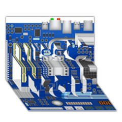 Classic Blue Computer Mainboard Miss You 3D Greeting Card (7x5)