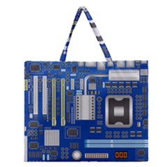 Classic Blue Computer Mainboard Zipper Large Tote Bag