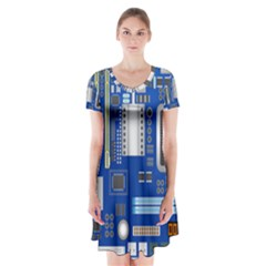 Classic Blue Computer Mainboard Short Sleeve V-neck Flare Dress