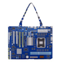 Classic Blue Computer Mainboard Medium Tote Bag