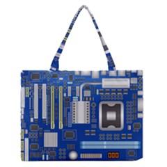 Classic Blue Computer Mainboard Medium Zipper Tote Bag
