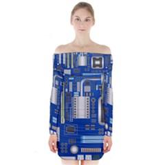 Classic Blue Computer Mainboard Long Sleeve Off Shoulder Dress