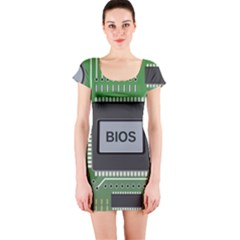 Computer Bios Board Short Sleeve Bodycon Dress