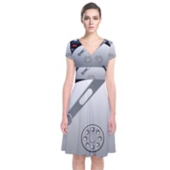 Computer Hard Disk Drive Hdd Short Sleeve Front Wrap Dress
