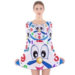 Cute Clock Long Sleeve Velvet Skater Dress