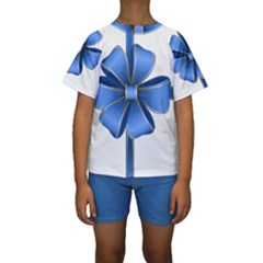 Decorative Blue Bow Transparent Clip Art Kids  Short Sleeve Swimwear