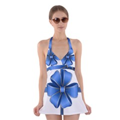 Decorative Blue Bow Transparent Clip Art Halter Swimsuit Dress