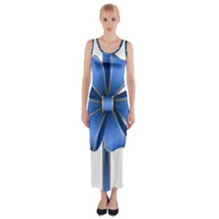 Decorative Blue Bow Transparent Clip Art Fitted Maxi Dress