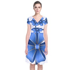 Decorative Blue Bow Transparent Clip Art Short Sleeve Front Wrap Dress