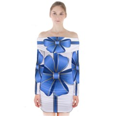 Decorative Blue Bow Transparent Clip Art Long Sleeve Off Shoulder Dress