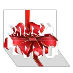 Decorative Red Bow Transparent Clip Art Miss You 3D Greeting Card (7x5)