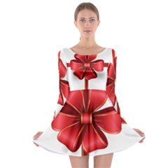 Decorative Red Bow Transparent Clip Art Long Sleeve Skater Dress
