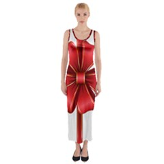 Decorative Red Bow Transparent Clip Art Fitted Maxi Dress