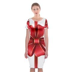 Decorative Red Bow Transparent Clip Art Classic Short Sleeve Midi Dress