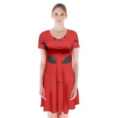 Devil Short Sleeve V-neck Flare Dress