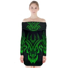 Dragon Head Long Sleeve Off Shoulder Dress