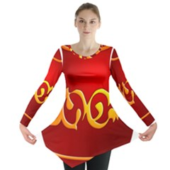 Easter Decorative Red Egg Long Sleeve Tunic