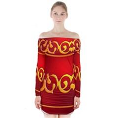 Easter Decorative Red Egg Long Sleeve Off Shoulder Dress