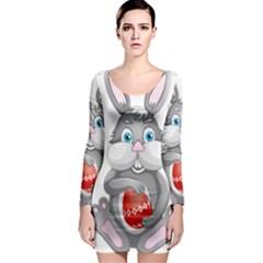 Easter Rabit Long Sleeve Bodycon Dress