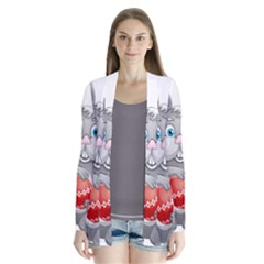 Easter Rabit Drape Collar Cardigan