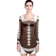 Football Ball Long Sleeve Velvet Bodycon Dress