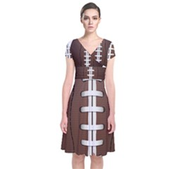 Football Ball Short Sleeve Front Wrap Dress