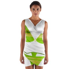 Green Swimsuit Wrap Front Bodycon Dress