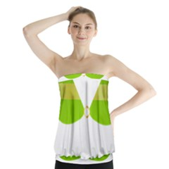 Green Swimsuit Strapless Top