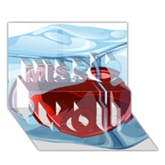 Heart In Ice Cube Miss You 3D Greeting Card (7x5)