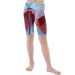 Heart In Ice Cube Kids  Mid Length Swim Shorts