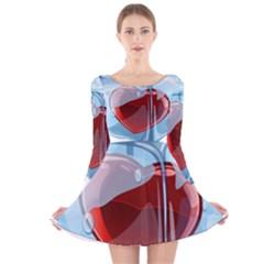 Heart In Ice Cube Long Sleeve Velvet Skater Dress