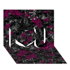 Magenta and gray decorative art I Love You 3D Greeting Card (7x5)