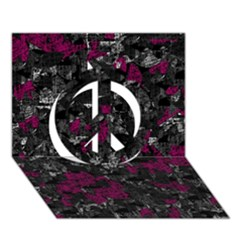 Magenta and gray decorative art Peace Sign 3D Greeting Card (7x5)