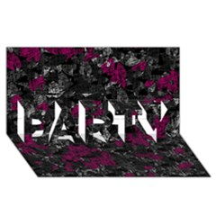 Magenta and gray decorative art PARTY 3D Greeting Card (8x4)