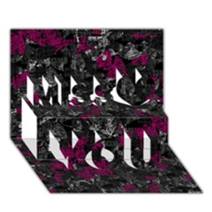 Magenta And Gray Decorative Art Miss You 3d Greeting Card (7x5)