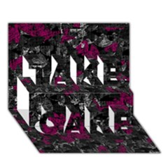 Magenta and gray decorative art TAKE CARE 3D Greeting Card (7x5)