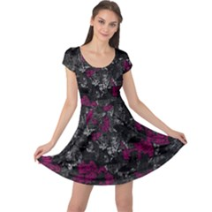 Magenta and gray decorative art Cap Sleeve Dresses