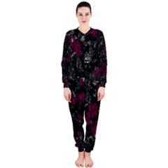 Magenta And Gray Decorative Art Onepiece Jumpsuit (ladies)