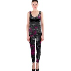 Magenta and gray decorative art OnePiece Catsuit