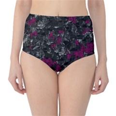Magenta and gray decorative art High-Waist Bikini Bottoms