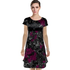 Magenta and gray decorative art Cap Sleeve Nightdress