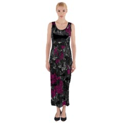 Magenta and gray decorative art Fitted Maxi Dress