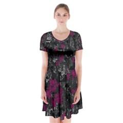 Magenta and gray decorative art Short Sleeve V-neck Flare Dress