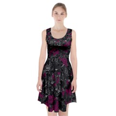 Magenta And Gray Decorative Art Racerback Midi Dress