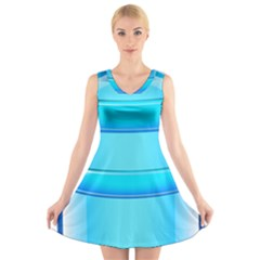 Large Water Bottle V-Neck Sleeveless Skater Dress